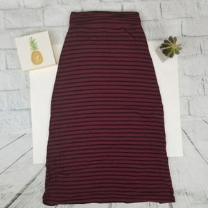 J. crew maroon and navy striped maxi skirt